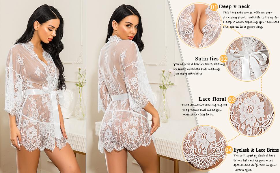 white lingerie robe