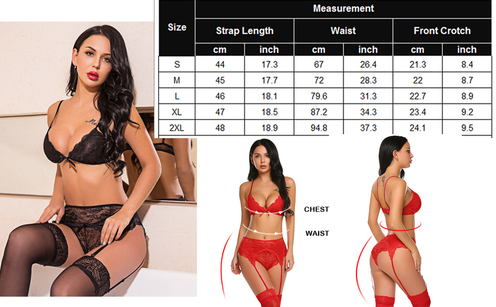 Avidlove Women Lace lingerie Set 3 Pieces Bralette and Panty Set V Neck Nightwear Strappy Babydoll