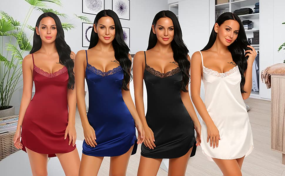 2c32181245d Avidlove Women's Nightwear Sexy Satin Sleepwear Lace Chemises Mini Full Slip
