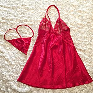 Sexy Lingerie Satin Sleepwear Lace Chemise