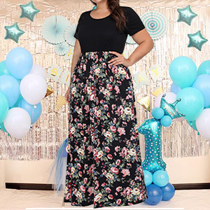 plus size maxi long dress for wedding party
