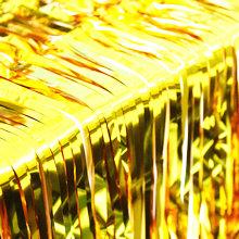 Wide and long gold foil fringe