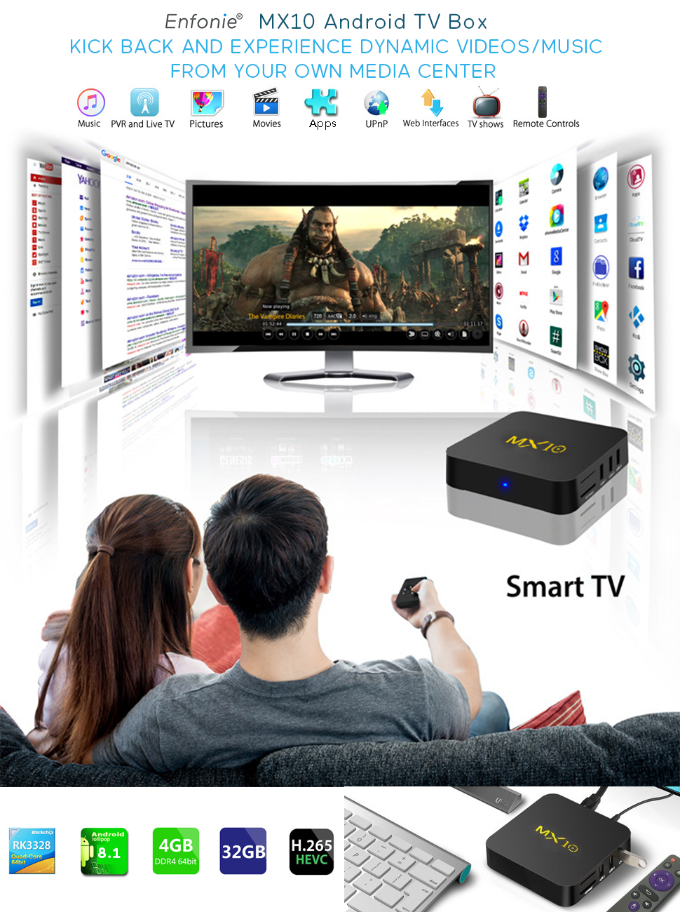 amazon com android tv box 8 1, mx10 android tv box with quad coreenfonie mx10 tv box comes with the excellent quad core processor and integrated with 4gb ddr4 32gb emmc, provides you smooth experience to watch videos or