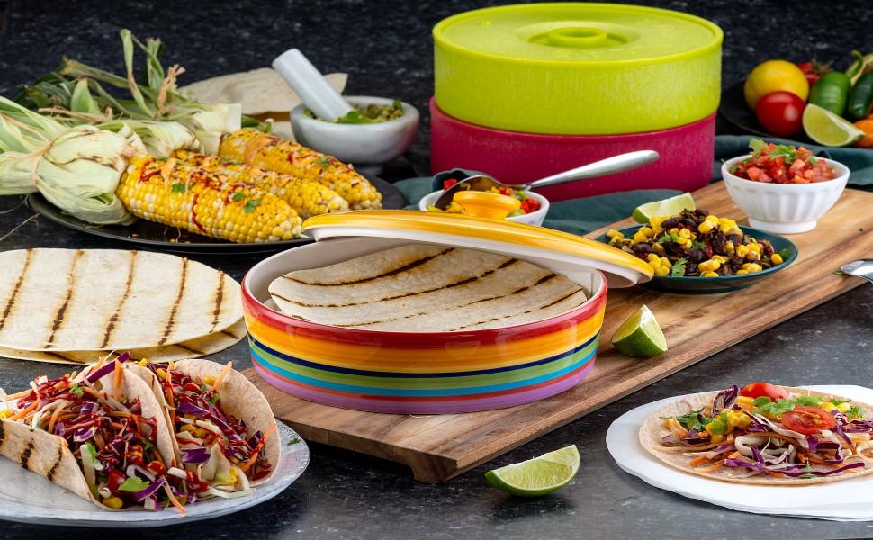 Amazon.com: Kook - Calentador de tortilla de cerámica con ...