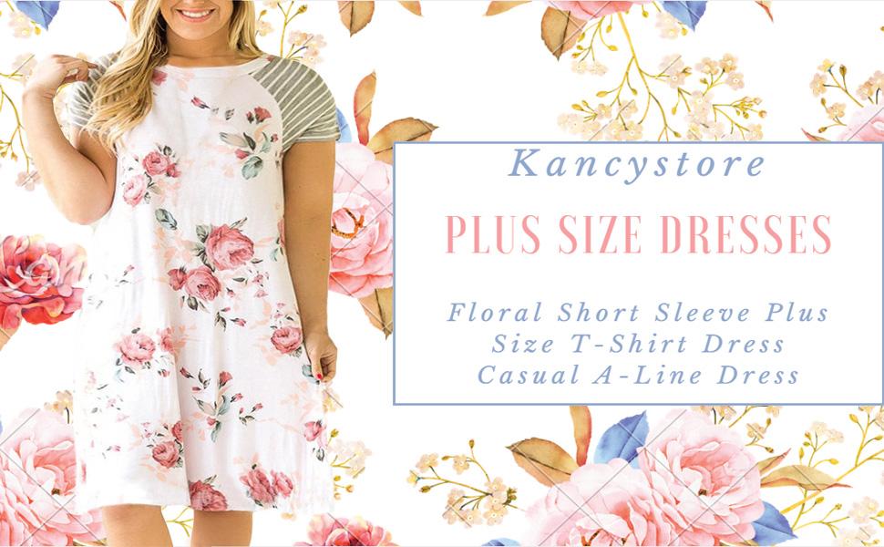 34fce81a92 Product Description. Kancystore Women's Floral Short Sleeve Plus Size T-Shirt  Dress ...