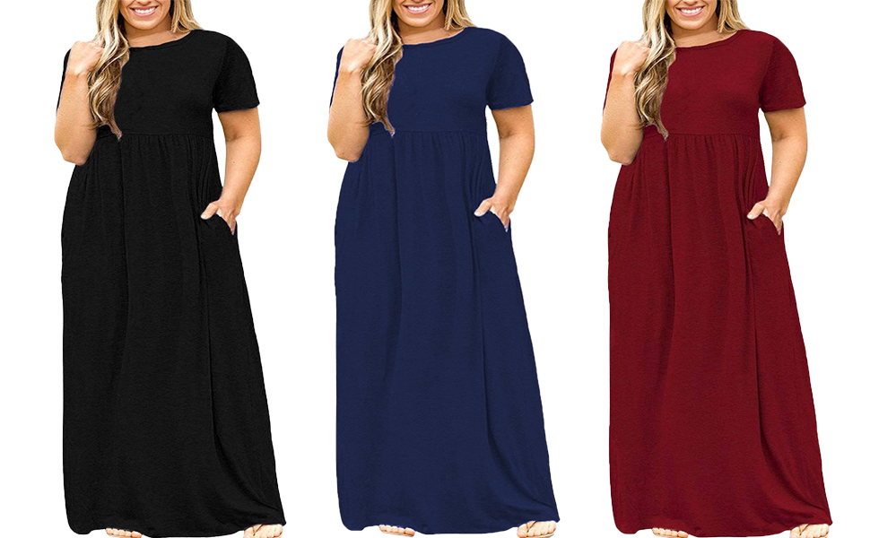 b24591ea0fb Kancystore Women's Short Sleeve Loose Plain Maxi Dresses Casual Long Dresses  with Pockets