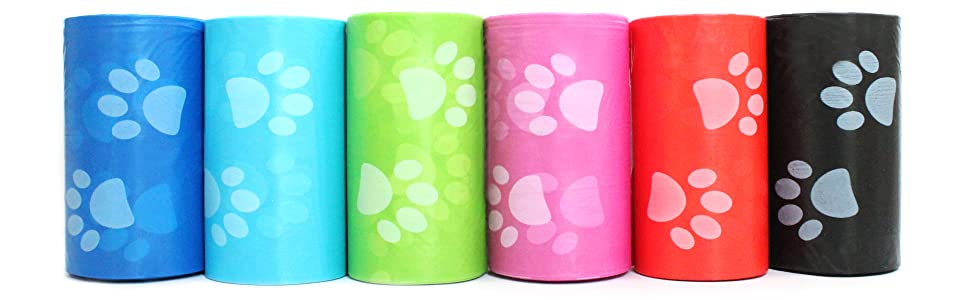 Multi-color pet waste bag with pawprint design