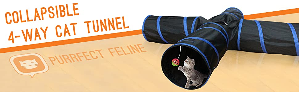 4-way collapsible cat tunnel by purrfect feline ball toy crakle tunnel