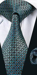 blue plaid check tie