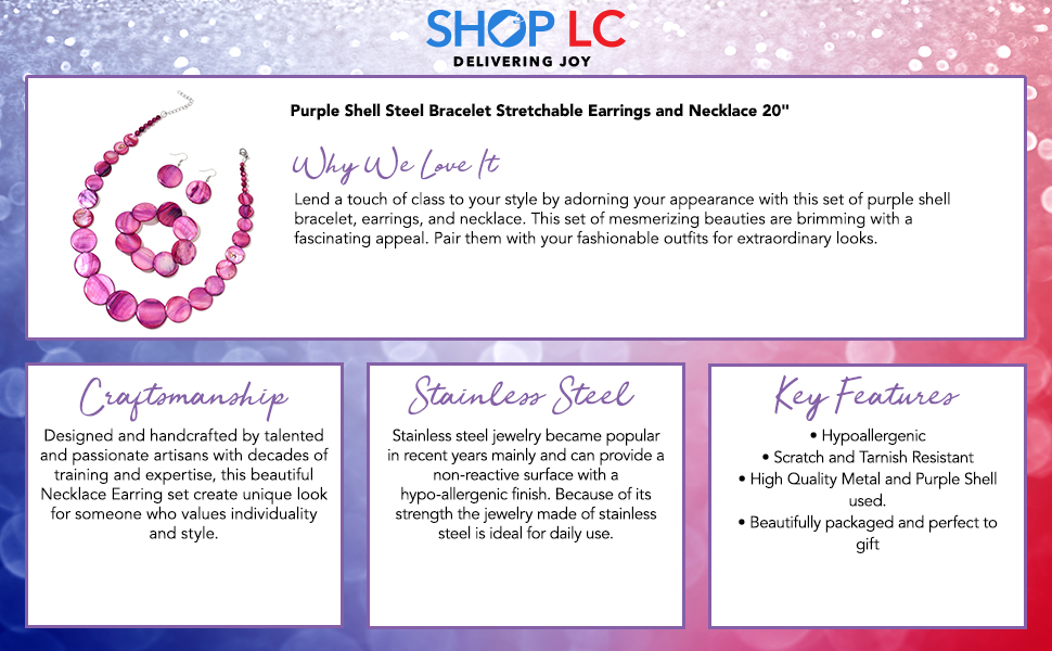 """Purple Shell Stainless Steel Bracelet Stretchable Earrings and Necklace For Women 20"""""""