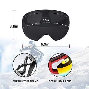 ed302dda5e4 Amazon.com   Veadoorn Ski Snowboard Snow Goggles