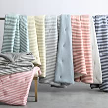 Collage of striped jersey knit comforter set