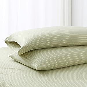 Willow Green Pinstriped Jersey Pillowcase Set