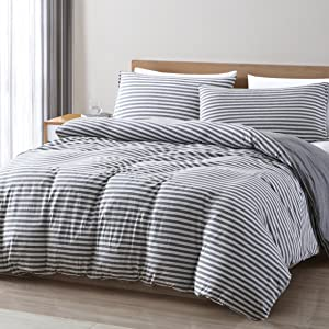 Striped Jersey Knit Duvet cover Set, space gray/gray