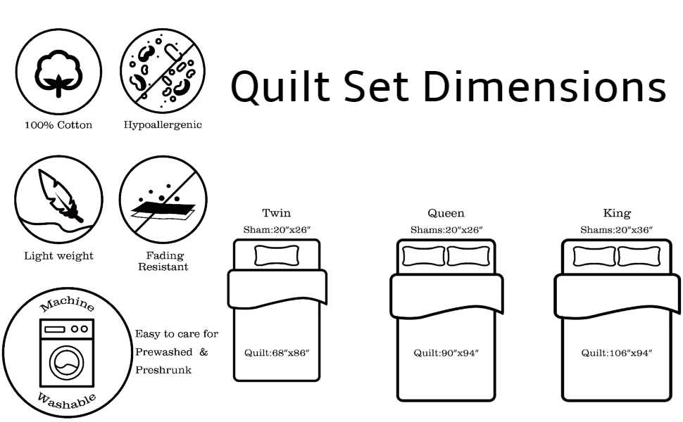 Quilt Set Dimensions and Features