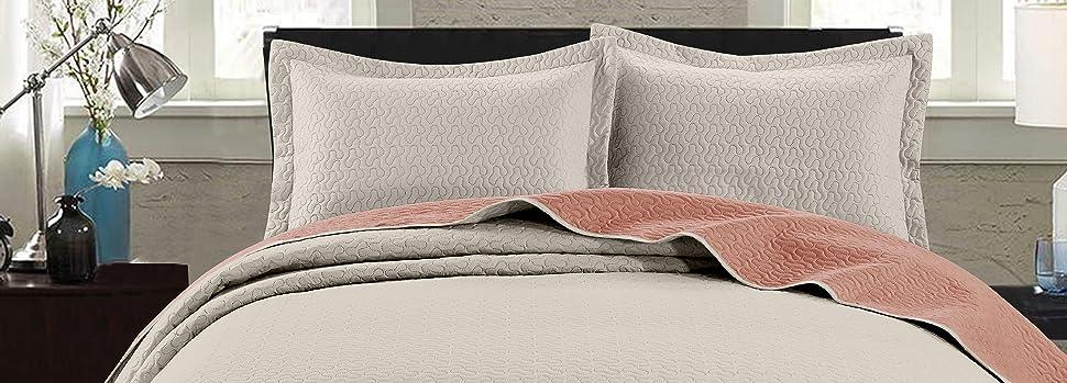Mesa Bedspread Set, Ivory Salmon