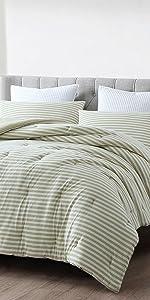 Striped Jersey Comforter Set