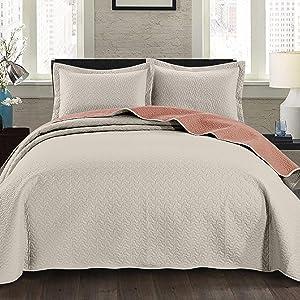Mesa Bedspread Set Ivory Salmon