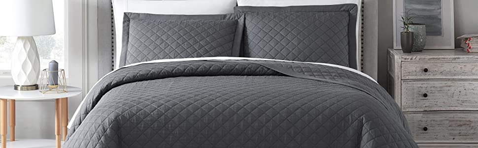 Owen Charcoal Gray Quilt Coverlet