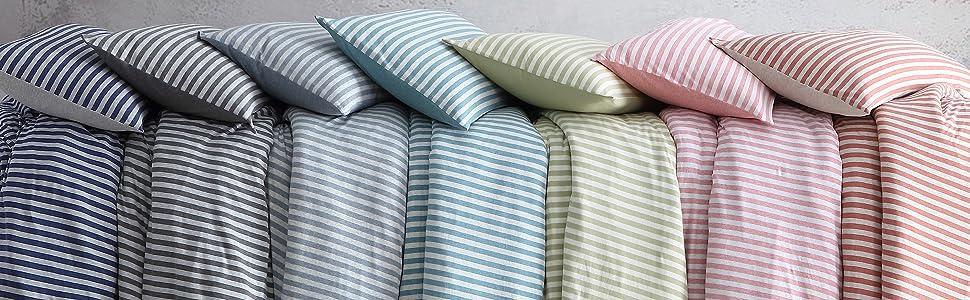Striped Jersey Knit Duvet Cover Set Variation