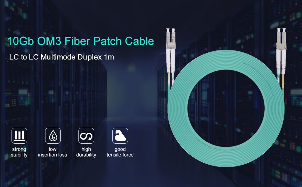 10x LC to LC Fiber Patch Cable 10Gb Multimode OM3 Duplex 50//125 1-Meter 3.3ft
