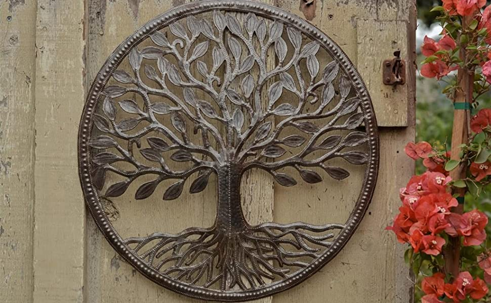 Tree of life with roots, Haiti metal wall art