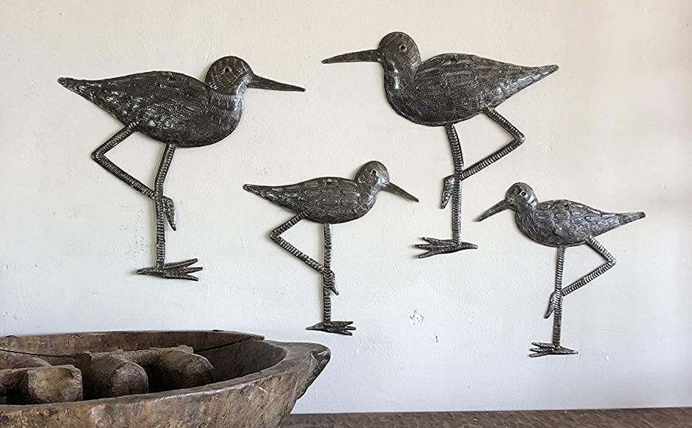 Amazon Com Sandpiper Coastal Birds Ornamental Sea Bird Decorative Home Art Nature Inspired Wall Hanging Figurine Handmade In Haiti 4 Large And Small 8 5 In X 9 In 6 5 In X 6 5 In Everything Else
