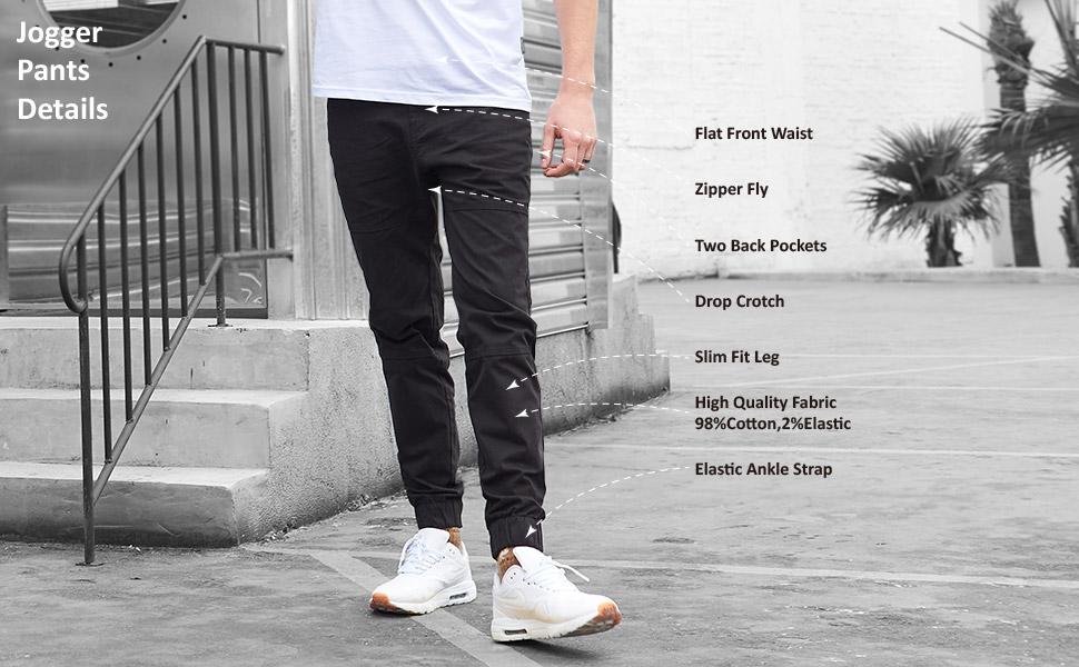 Losait Mens Cozy High Waist Business Regular Fit Chino Jogger Pants