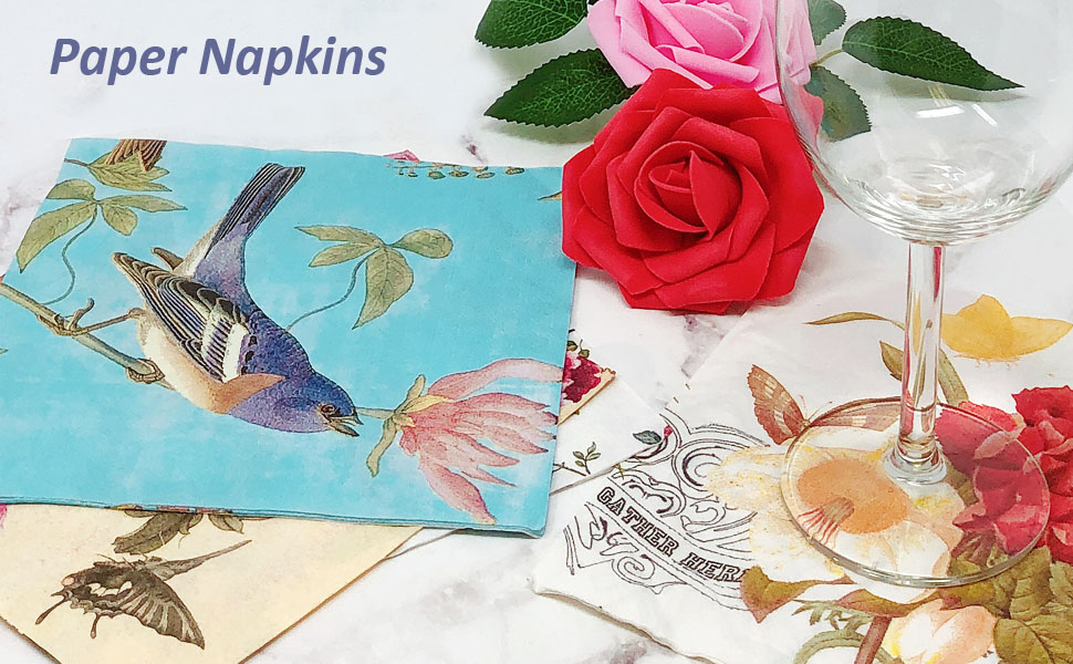 4 Single Paper Napkins for Decoupage Cherry Flowers