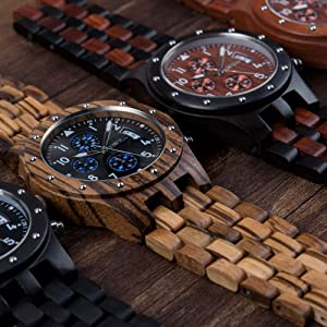 Bewell W109D Sub-dials Wooden Watch Quartz Analog Movement Date Wristwatch for Men (Zebra Wood)