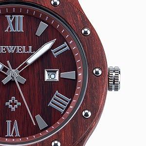 Bewell Men's Wood Quartz Watches Roman Date Luminous Wooden Wrist Watch W109A Red Sandalwood