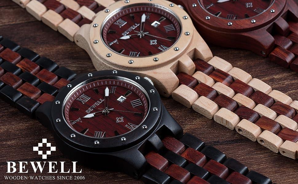 BEWELL wooden watches men quartz date display wood watches for men luminous ebony wood W109A