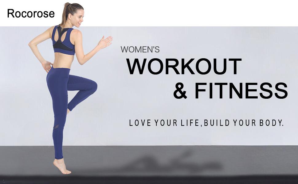 Rocorose Women Yoga Pants High Waist Tummy Control Full-Length Workout Moto Leggings