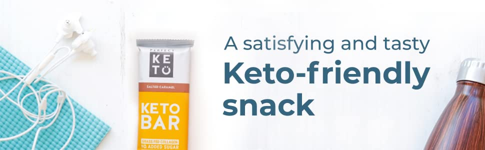 Perfect Keto Bar, Keto Snack (12 Count), No Added Sugar  10g of Protein,  Coconut Oil, and Collagen,