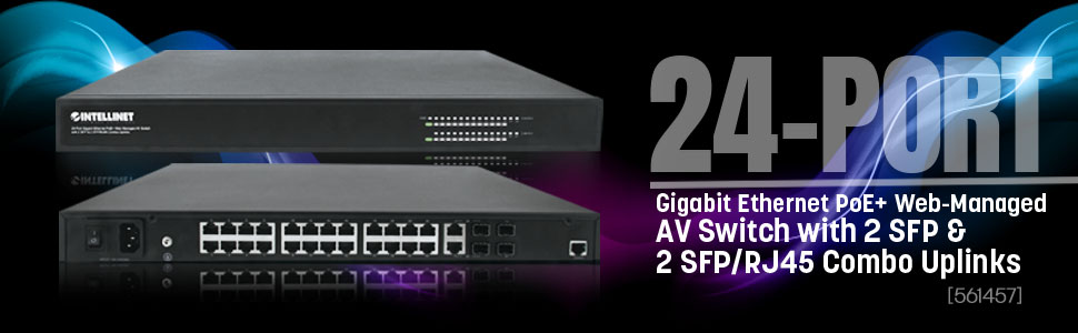 24-Port Intellinet Gigabit Ethernet PoE Web Managed AV Switch with 2 SFP Uplinks