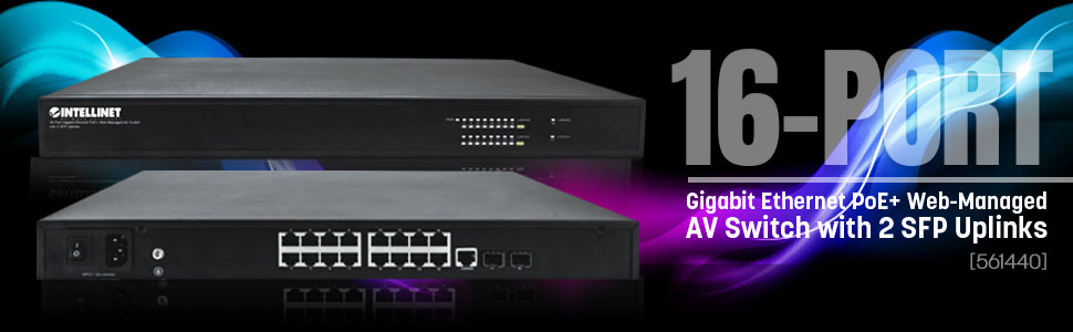 16-Port Intellinet Gigabit Ethernet PoE Web Managed AV Switch with 2 SFP Uplinks