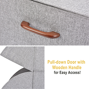Pull-Down Doors with 2 Wooden Handles for Closet