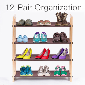 Maidmax Wooden Shoe Rack Shelf 4 Tiers For 12 Pairs Of Shoes Storage Stackable Ebay