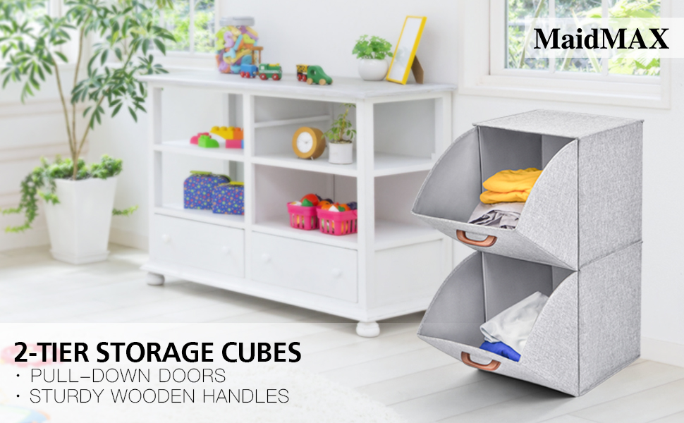 2 tier standing storage bins for clothes