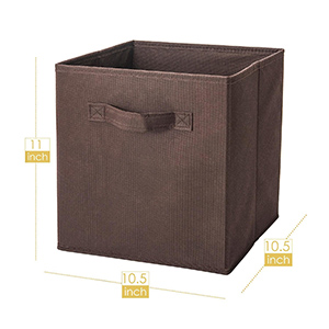 size of brown storage cubes 10.5''