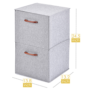2-Tier Collapsible Storage Cubes Organizer size