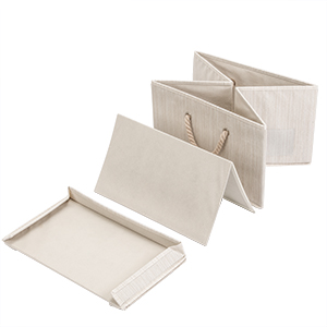 foldble collapsible bins beige