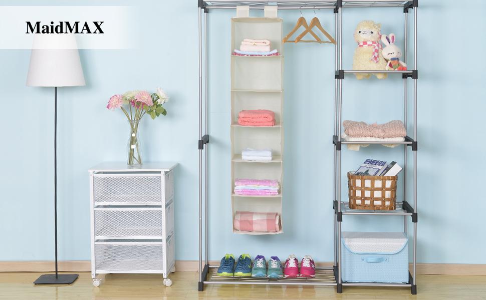 MaidMAX 6 Shelf Collapsible Hanging Closet Organizer