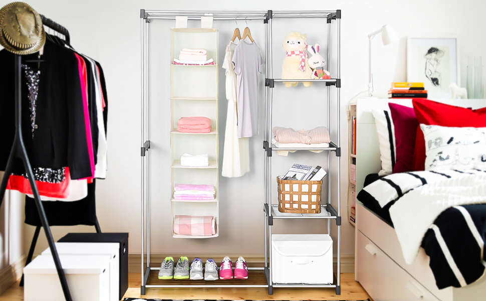 MaidMAX 2nd Generation Free Standing Double Rod Closet, Silver