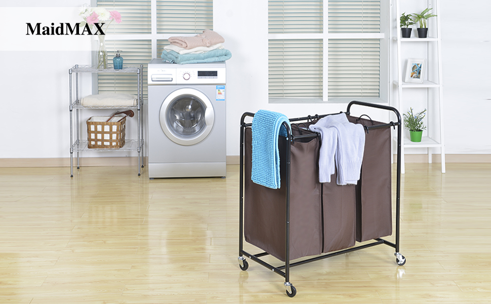 Large Laundry Sorter Gorgeous Amazon MaidMAX Laundry Sorter Metal Rolling HeavyDuty Triple