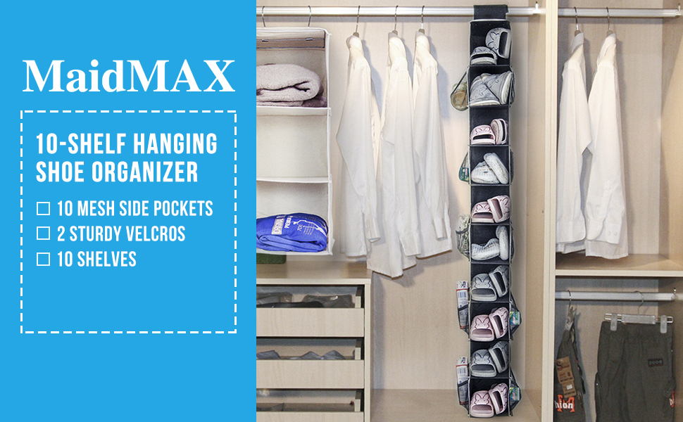 Amazoncom Hanging Shoe Organizer MaidMAX Closet Hanging Shelf