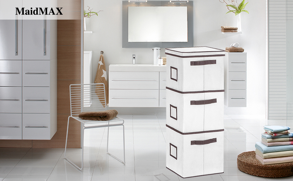 maidmax stackable storage bins with a lid beige 3set