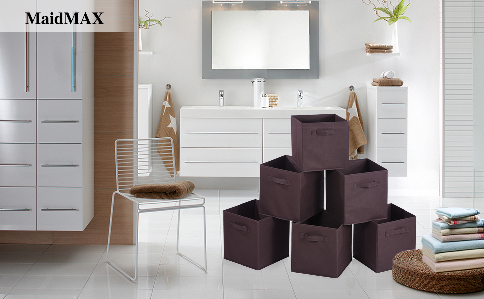 MaidMAX Set Of 6 Foldable Nonwoven Storage Cubes With Dual Handles, Brown