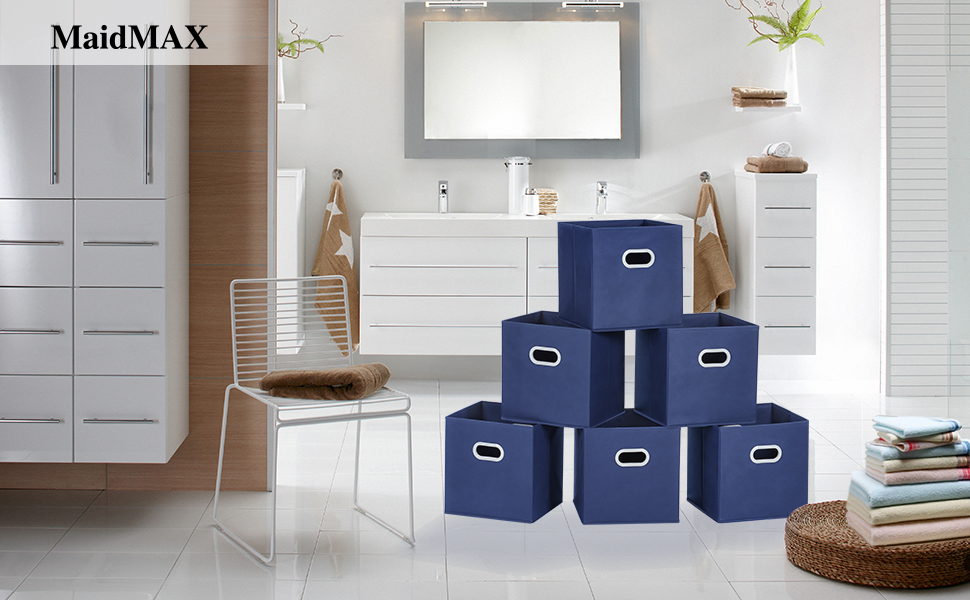 Cloth Storage Bins, MaidMAX Set of 6 Nonwoven Foldable Collapsible ...