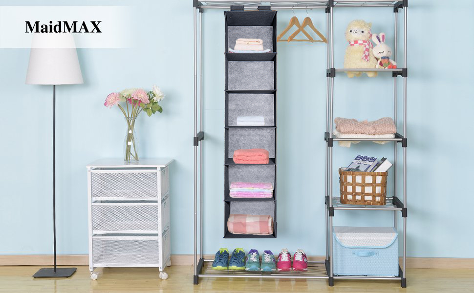 Closet Hanging Shelf MaidMAX 6Shelf Collapsible Hanging Accessory